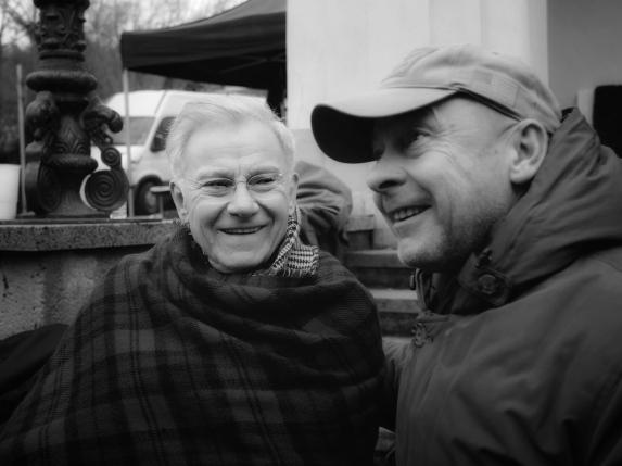 Actor Harvey Keitel on set with director Václav Marhoul.
