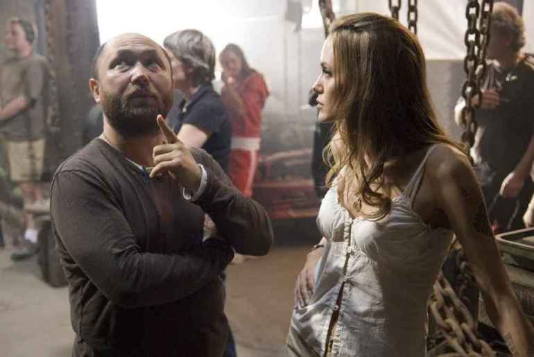 Director Timur Bekmambetov and Angelina Jolie on the set of Wanted (2008)