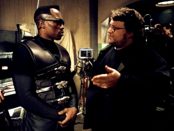 Wesley Snipes and director Guillermo Del Toro on the set of Blade II (2002)
